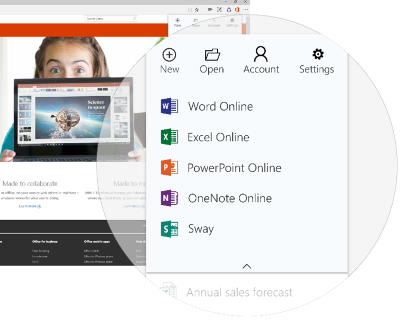 A quicker way to access and create Office documents on Microsoft Edge browser