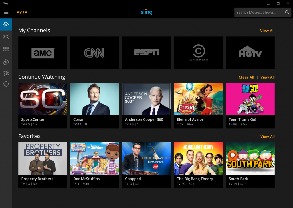 Watch Live and On-Demand Entertainment from Sling TV on Windows 10