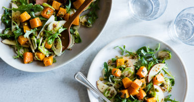 Healthy Recipe: Roasted Butternut Squash Salad with Brussels Sprouts & Maple Dressing