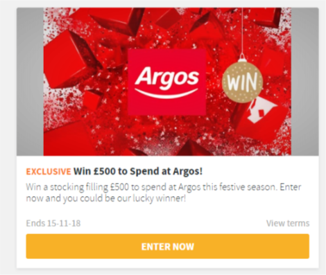 Win £500 to spend at Argos