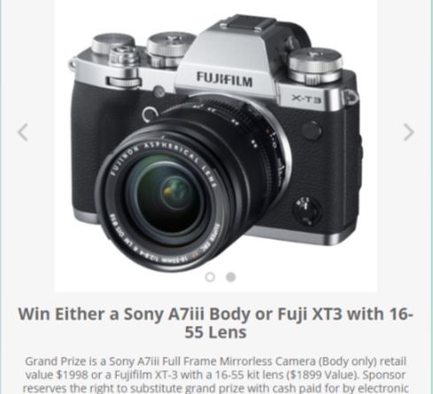 Win a Sony A7iii Body or Fuji XT3 with 16-55 Lens