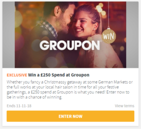 Win £250 to spend at Groupon