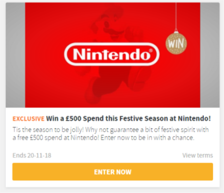 Win £500 to spend at Nintendo