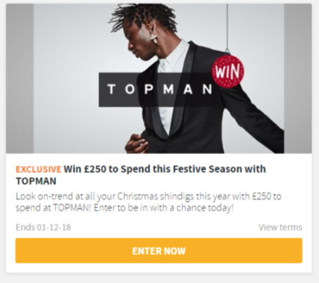 Win £250 to spend at TOPMAN