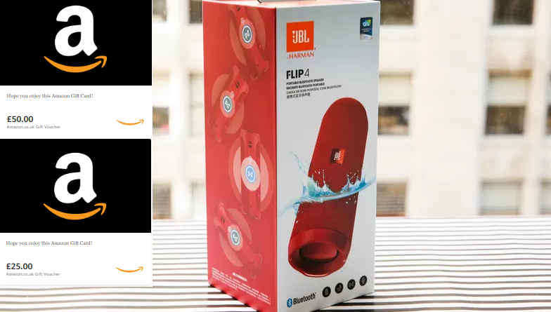 Win a JBL Speaker & Amazon Giftcards