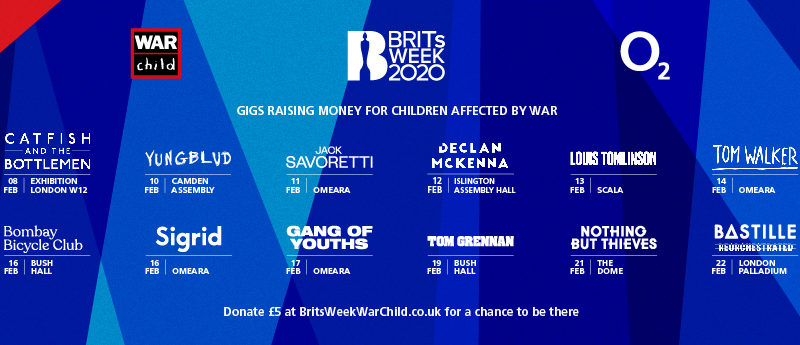 BRITs Week Together With O2 For War Child  2020 Shows Announced