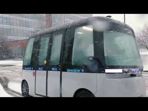 Self-driving shuttle bus at Nokia HQ in Espoo, Finland