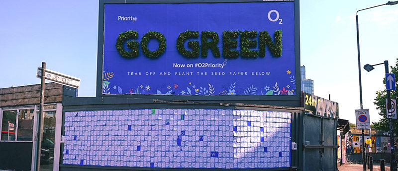 O2 unveils living billboard in Shoreditch to encourage nation to Go Green